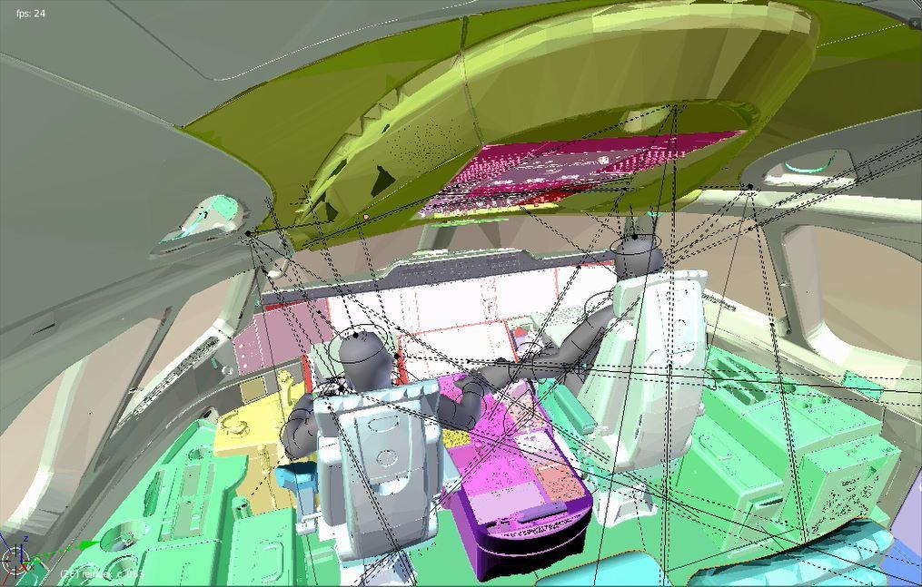 Implantation de capteur Lifi dans un cockpit d'A350