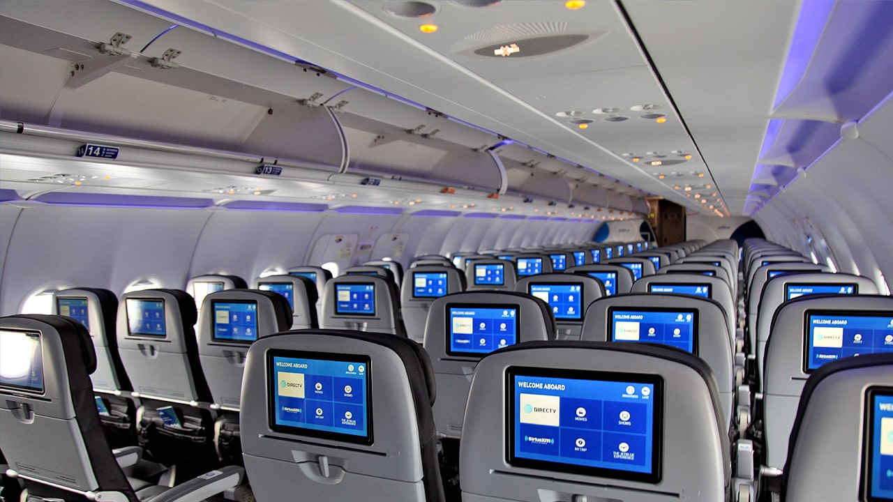 Cabine A320 JetBlue avec IFE dans chaque siège