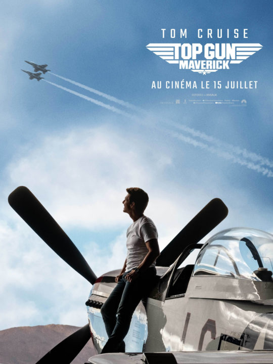 Affiche officielle de TOP GUN 2, Tom Cruise devant son North American Aviation P-51 Mustang personnel