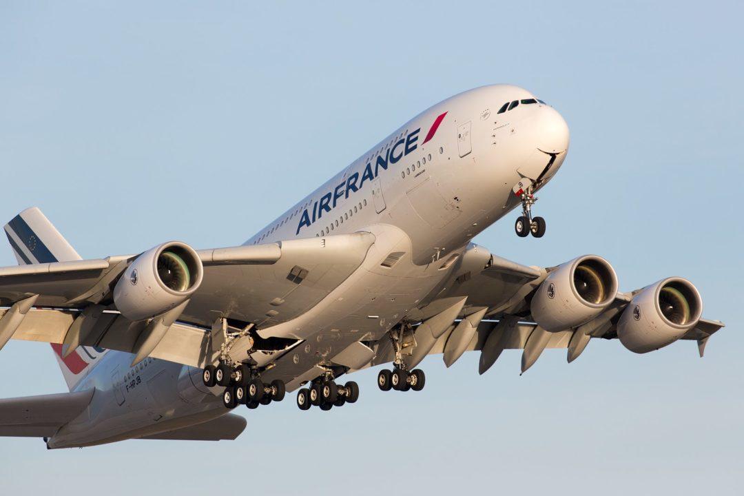 Départ de Dresde de l'A380 Air France F-HPJB en 2016 après une maintenance