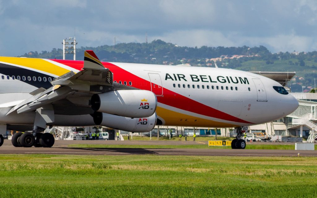 A340-300 Air Belgium sur le tarmac de TFFF (Aimé Césaire International Airport)