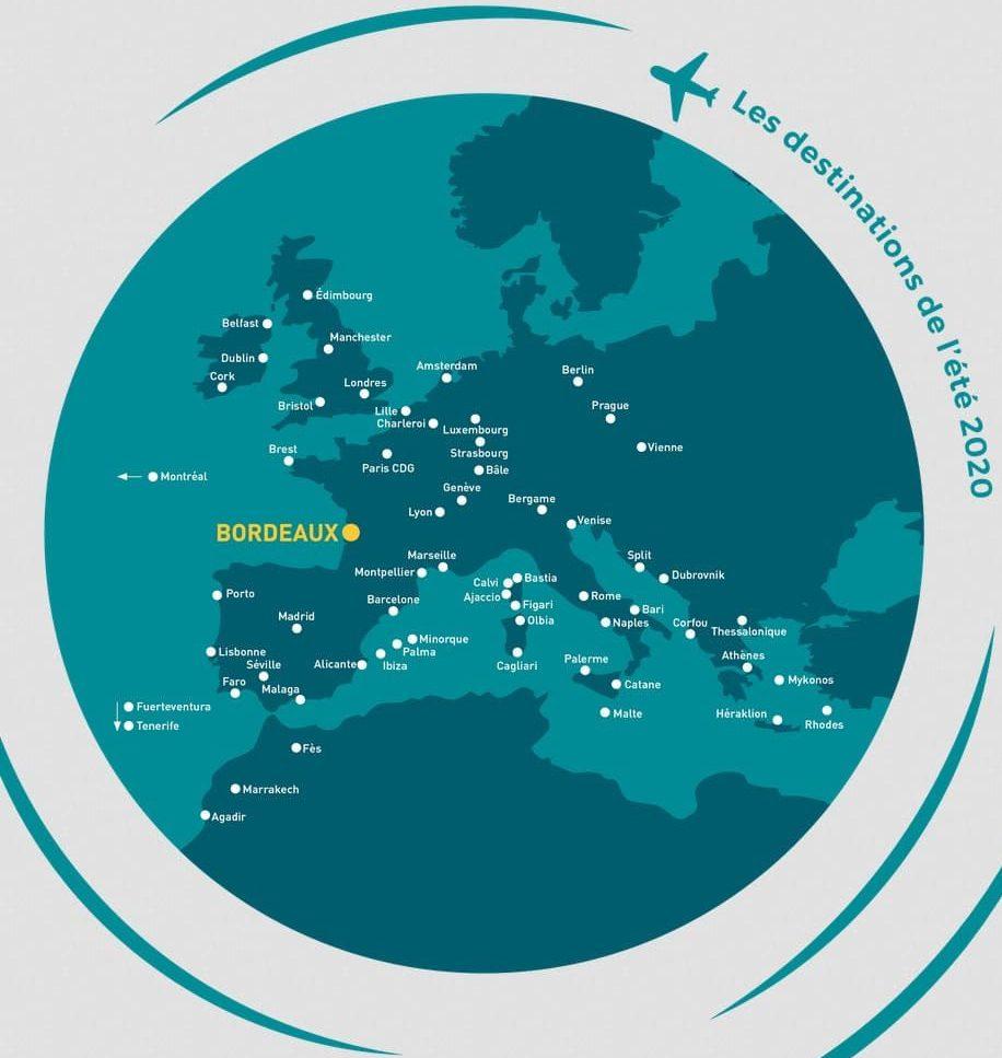 Lignes et les fréquences de vol de l'été 2020 au départ de Bordeaux