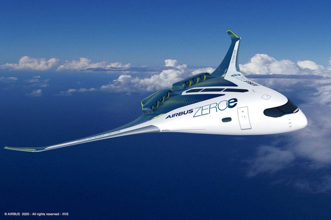 Concept Airbus d'aile volante à Hydrogene