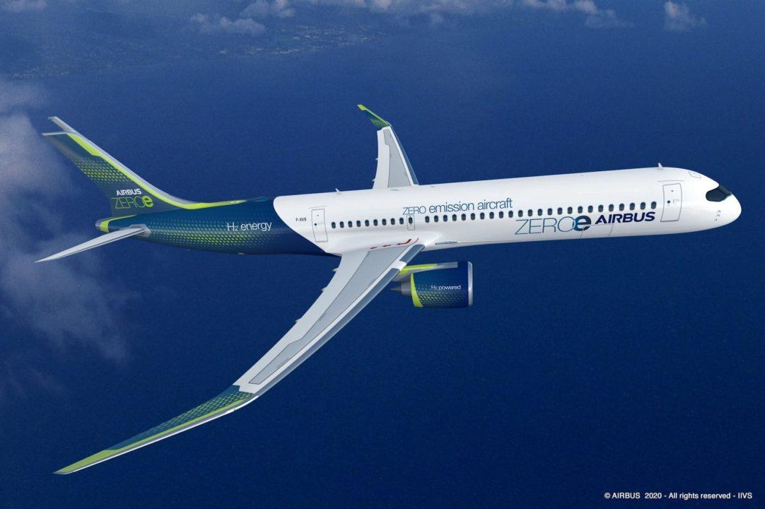 Concept d'avion à Hydrogene Airbus