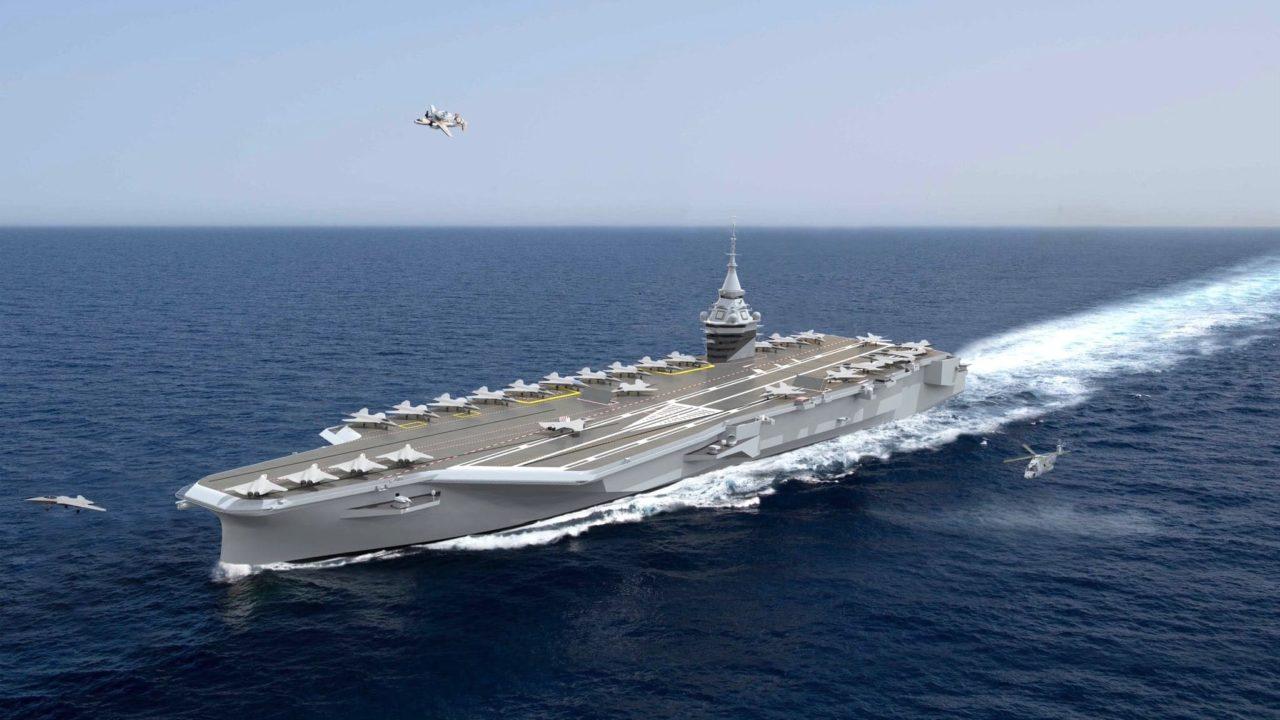 Vue 3D du futur porte-avions à propulsion nucléaire français