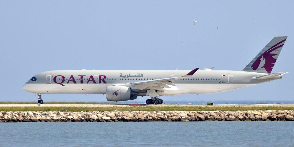 Qatar Airways A350-900 au roulage à Nice (NCE)