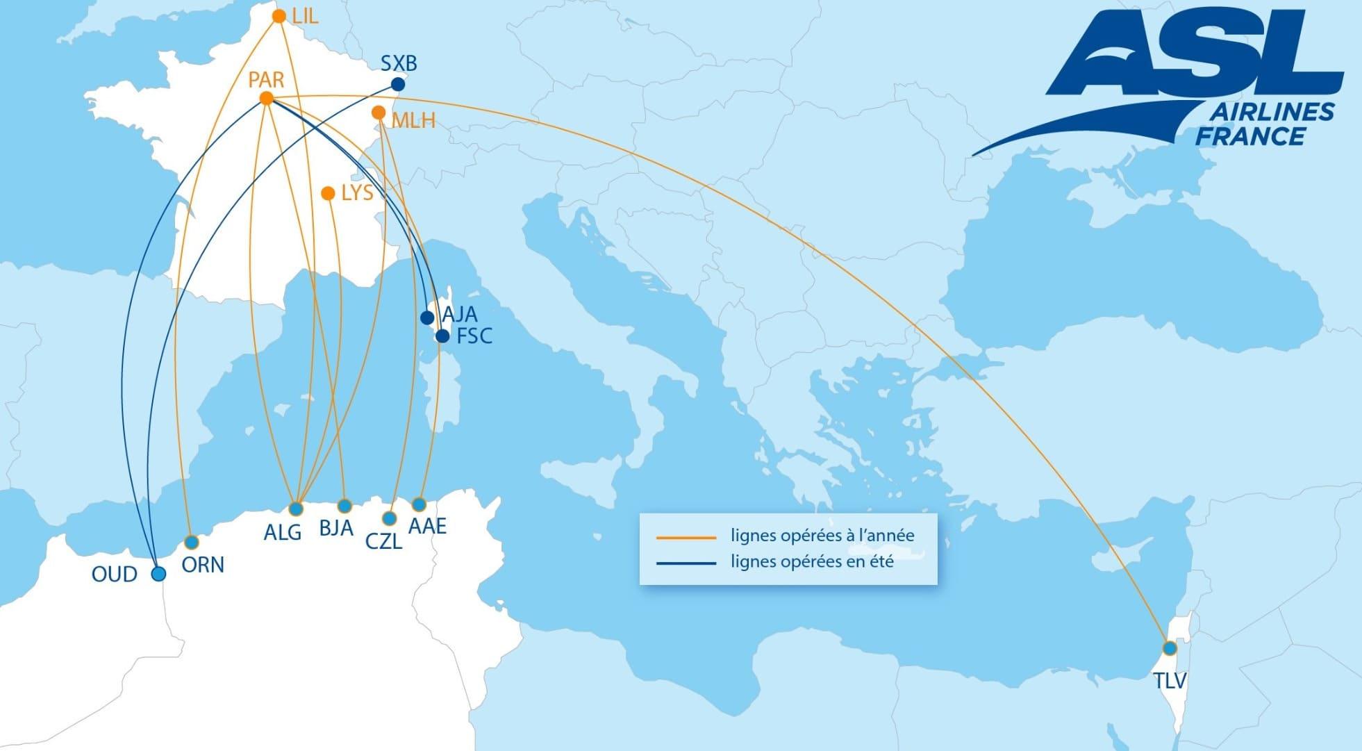Lignes ASL Airlines France été 2021