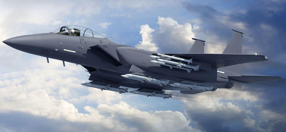 Vue 3D du Boeing F-15EX avec armement