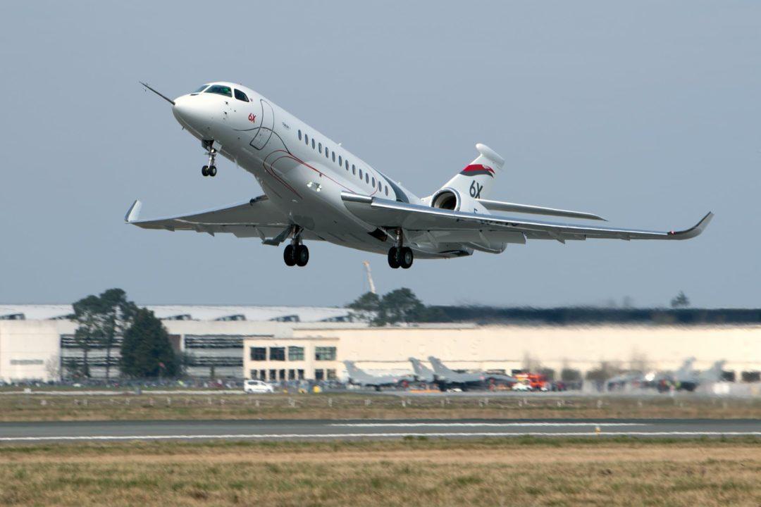 1er vol Falcon 6X décollage de Bordeaux