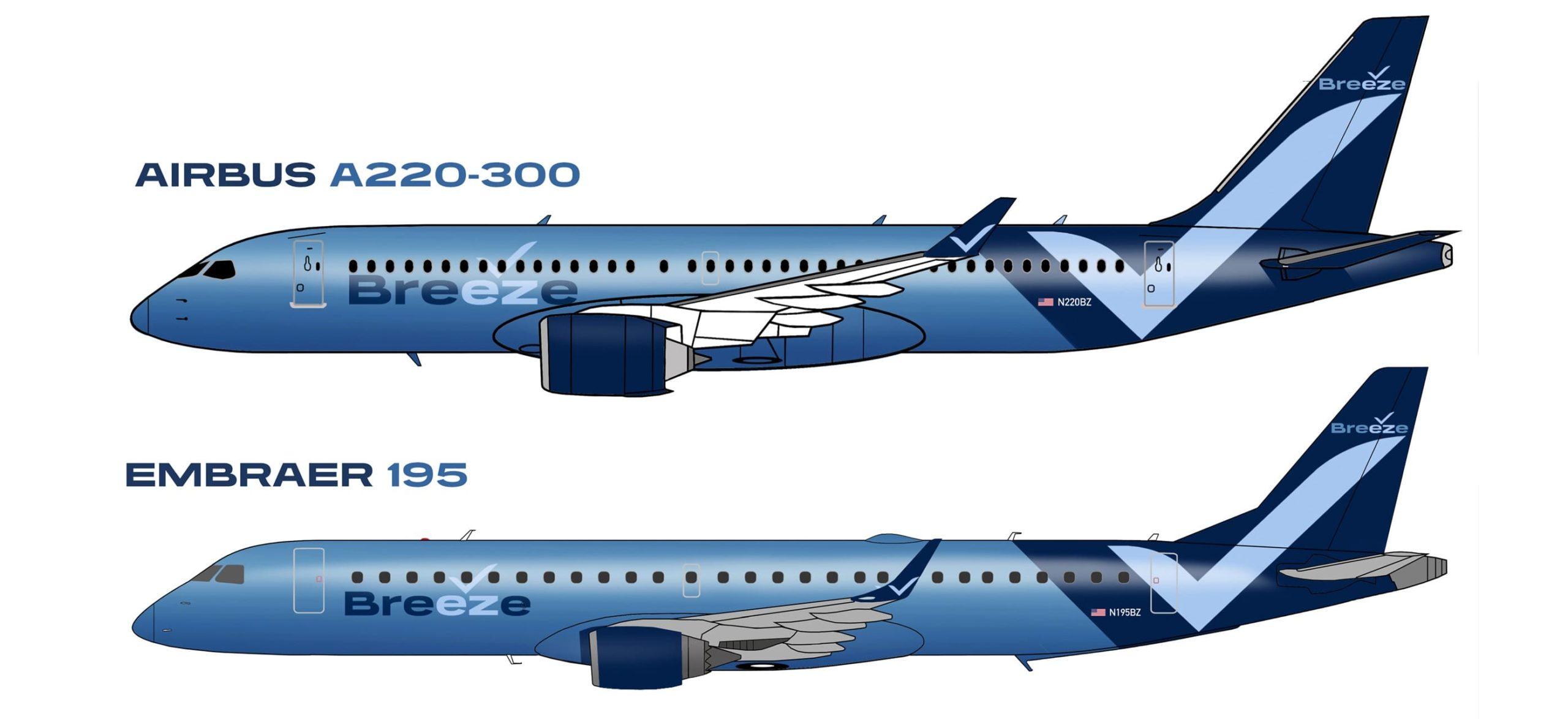 Breeze Airways A220-300 et E195
