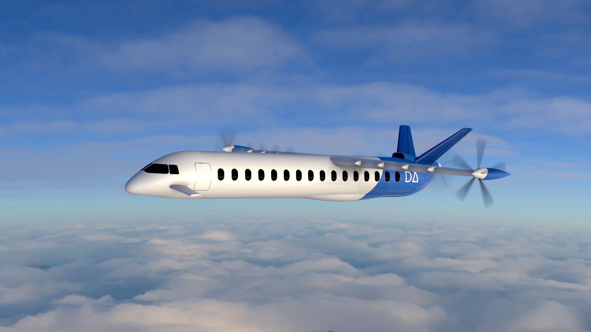 Vue d'artiste du projet d'avion électrique 19 places DAX19 de Dante Aeronautical