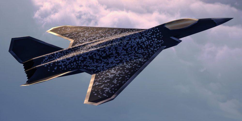 Vue 3D projet de l'avion furtif du programme SCAF