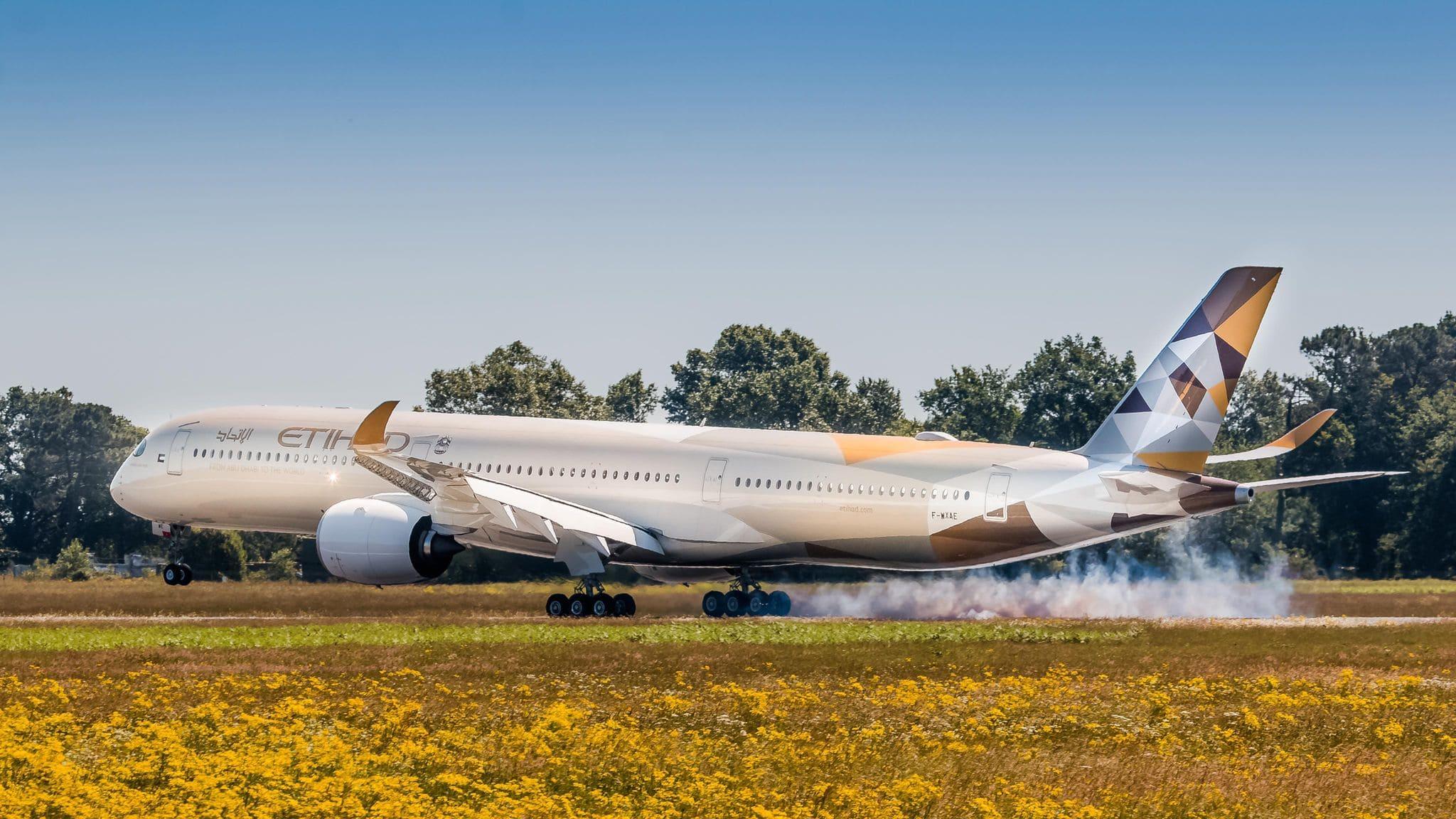 1er A350-1000 Etihad arrivée à Bordeaux en 2019