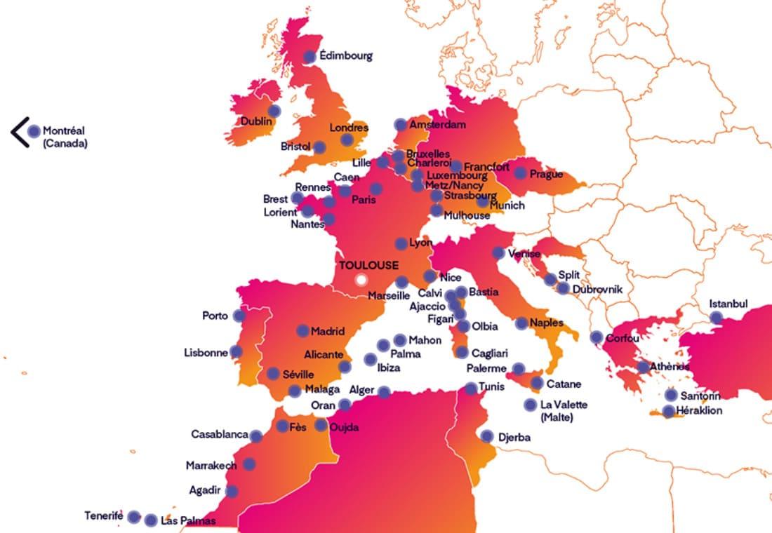 Les 66 destinations de l'été à Toulouse-Blagnac