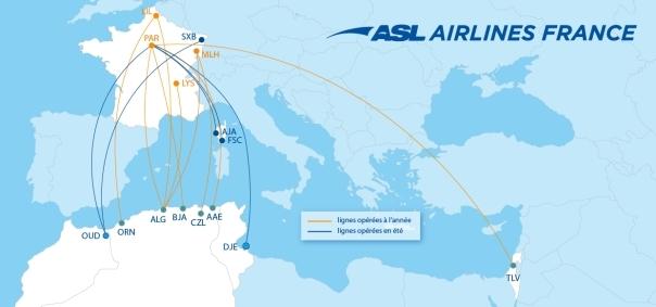 Réseau ASL Airlines France de l'été 2021