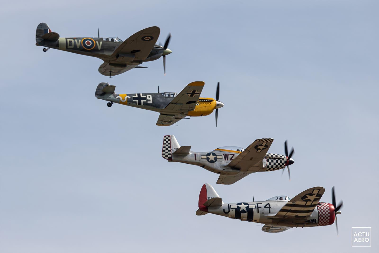 Spitfire, Me109, P51D et P47D